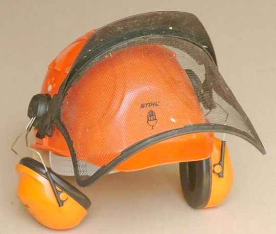 A combination helmet, visor and ear  protectors.
