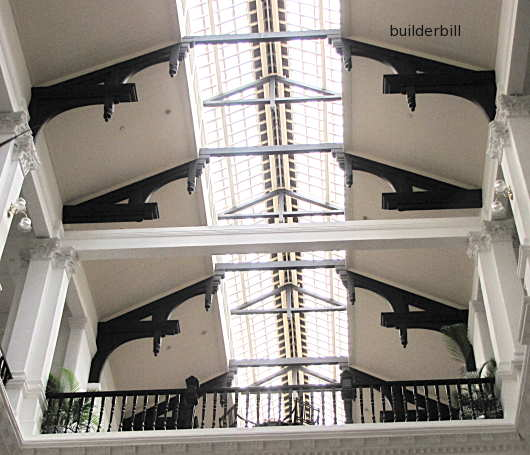 The hammer beam style roof at raffles hotel singapore