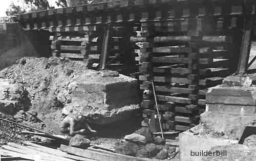 shoring of a railway bridge