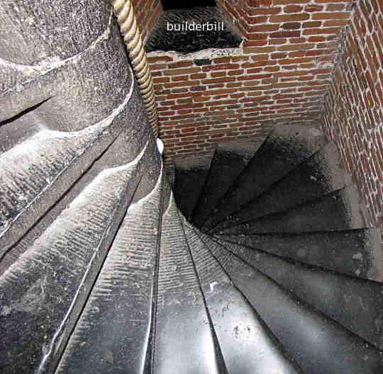 a stone spiral stairway