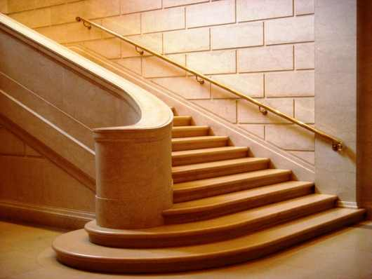 A large dressed stone staircase