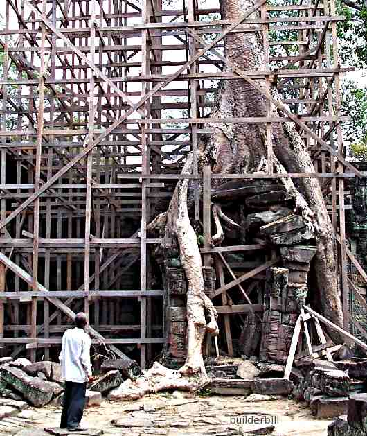 timber of lumber used as scaffolding